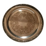 Image of Vintage Wm. Rogers Silver Plated Round Serving Tray For Sale