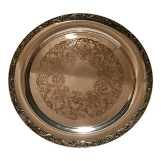Vintage Wm. Rogers Silver Plated Round Serving Tray For Sale