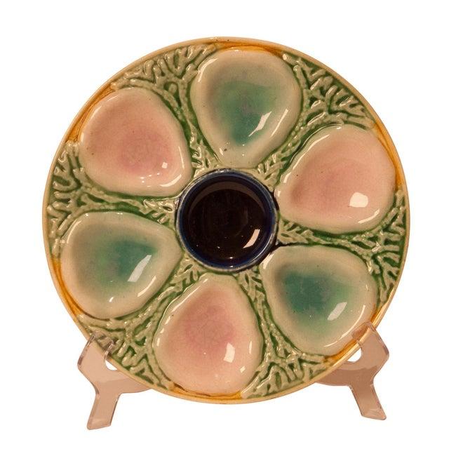 A 19th Century English multicolored majolica oyster plate, circa 1880