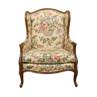 Hickory Tavern Country French Louis XVI Floral Upholstered Armchair For Sale