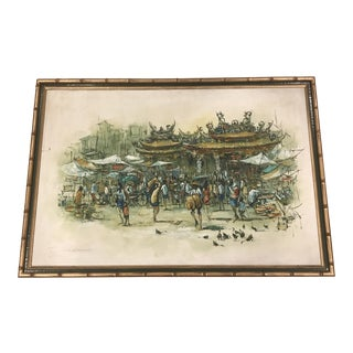 Asian Cityscape Painting in Faux Bamboo For Sale