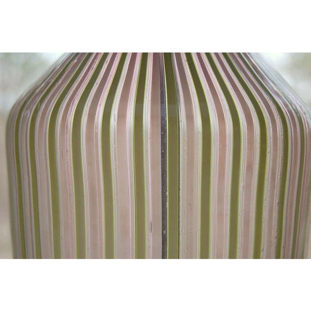 1950s Dino Martens Murano Glass Table Lamps Pink Green Stripes For Sale - Image 5 of 8