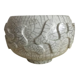 Off-White Crackle-Glaze Puzzle Bowl For Sale