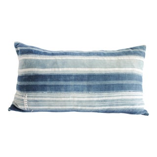 Vintage Indigo Blue and White Stirpe Mudcloth Lumbar Pillow For Sale