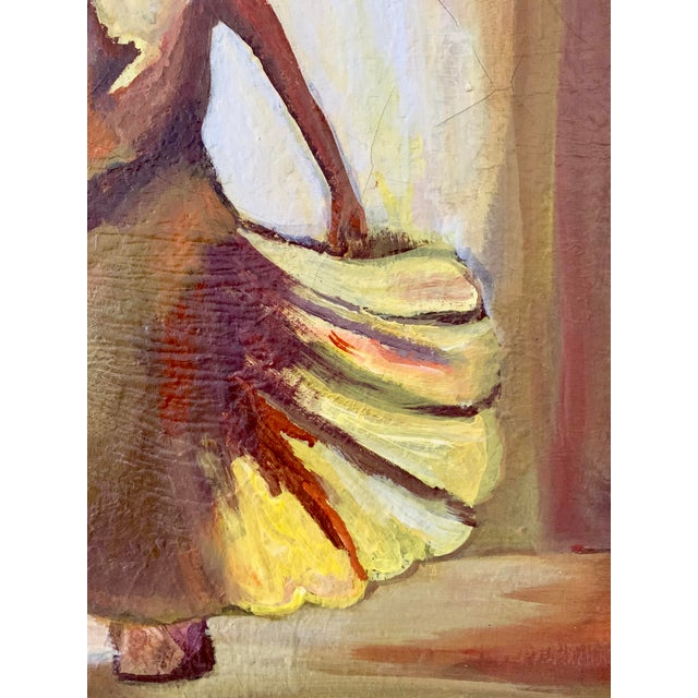 Contemporary Vintage Female Dancer Portrait Oil on Canvas Painting For Sale - Image 3 of 8