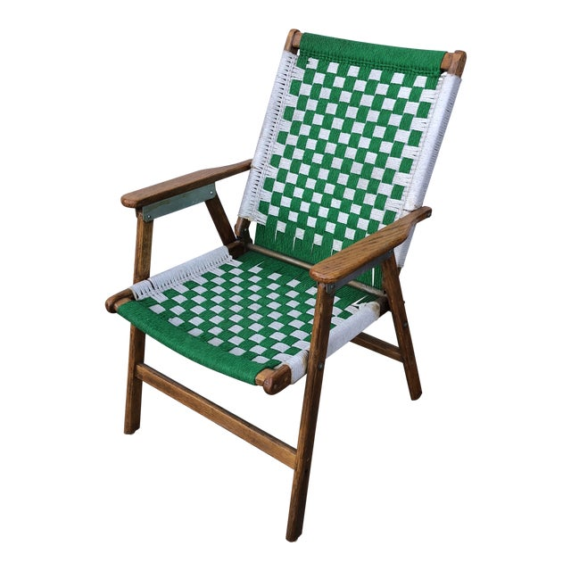 1970s Antique Green Woven Scandinavian Style Folding Wooden Chair For Sale