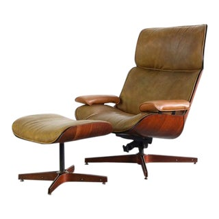 Mr. Chair Bentwood Lounge Chair & Ottoman for Plycraft by George Mulhauser, USA For Sale