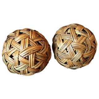 Vintage Woven Wicker Globes - A Pair
