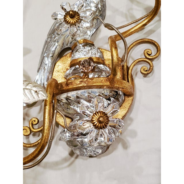 Art Deco French Maison Baquès Bronze and Crystal Parrot Sconces - a Pair For Sale - Image 3 of 8