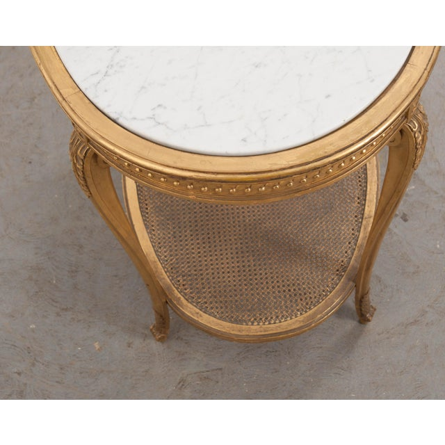 French 19th Louis XVI Style Oval Giltwood Occasional Table For Sale - Image 9 of 13