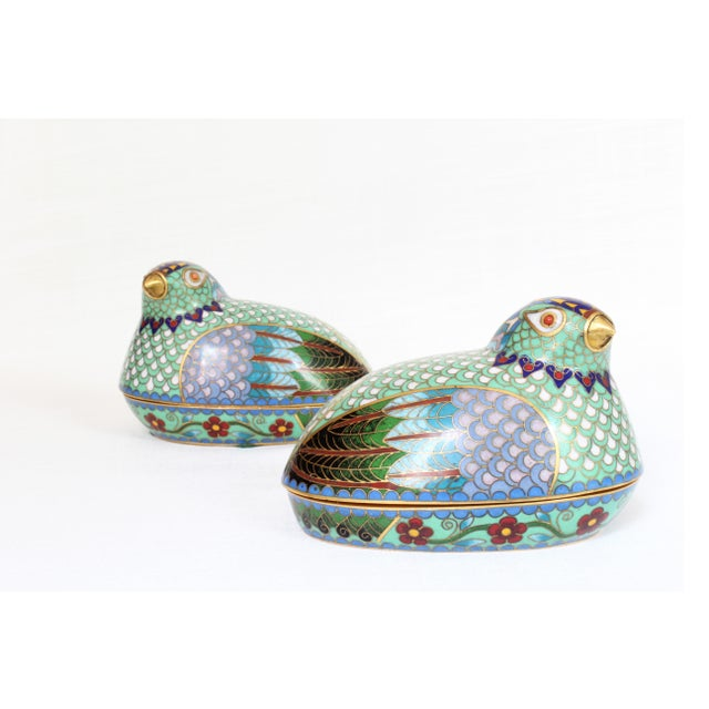 Late 19th Century Chinese Cloisonné Quail/Partridges - a Pair For Sale - Image 5 of 5