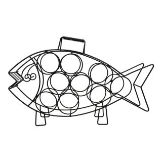 Mid-Century Modern Wire Fish Wine Rack For Sale