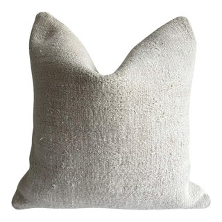 Vintage Off-White Turkish Hemp Rug Pillow Cover For Sale