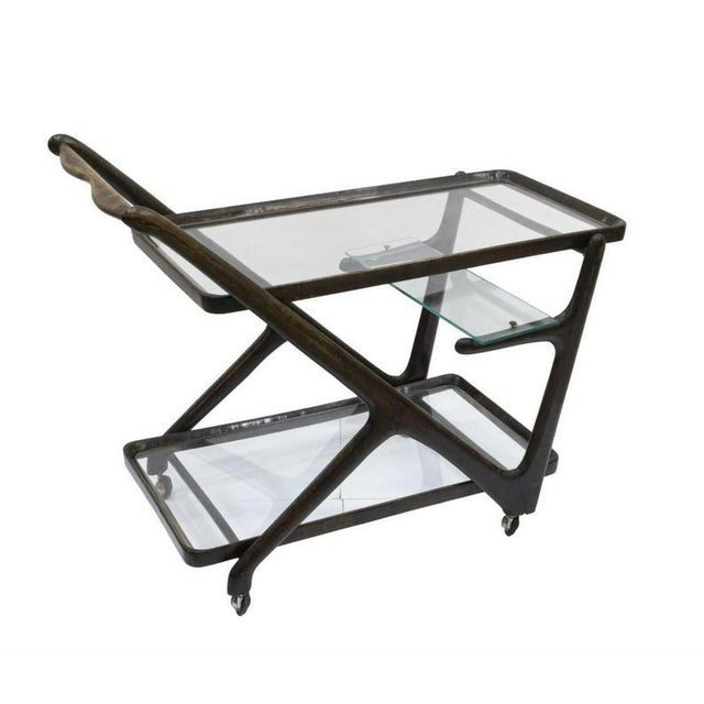 A vintage Italian mid-century modern bar cart, in the manner of iconic designer and architect, Ico Parisi (Italy,...