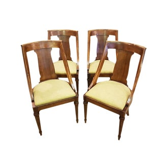 Set of 4 French Vintage Walnut Swoop Back Side Chairs Reupholstered For Sale