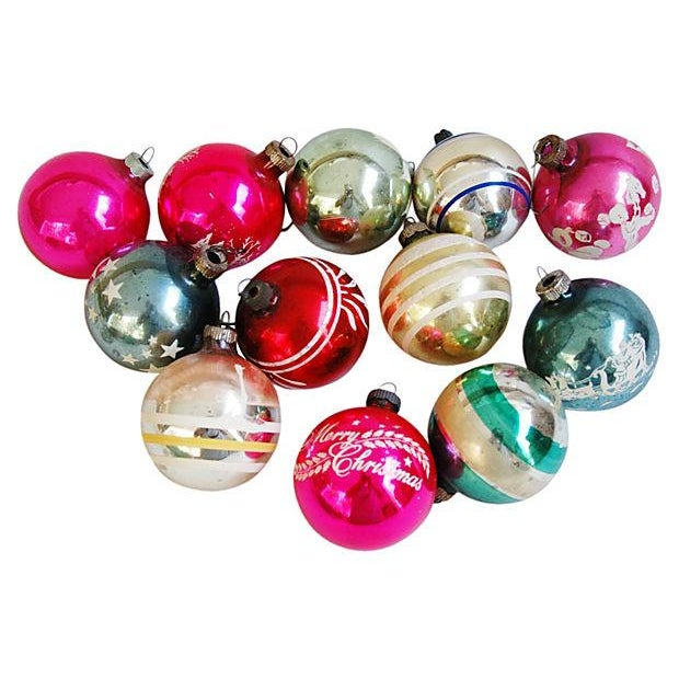 Mid-Century Fancy Holiday Ornaments - Set of 12 - Image 1 of 5