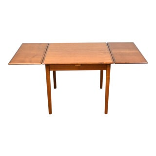1960s Danish Teak Square Draw Leaf Dining Table For Sale
