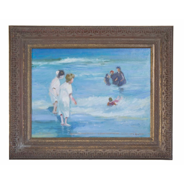 American Impressionist Oil on Canvas of Ocean Play For Sale In West Palm - Image 6 of 6
