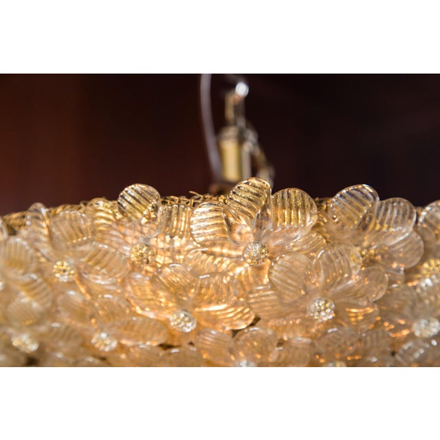 Italian Barovier & Toso Murano Glass Surface Mount Ceiling Chandelier/Light For Sale - Image 9 of 11