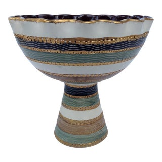 Aldo Londi for Bitossi Italian Sgraffito Tall Pedestal Bowl