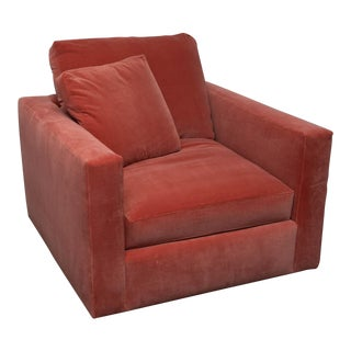 Large Tuxedo Arm Swivel Club Chair in Salmon Ultra Suede For Sale
