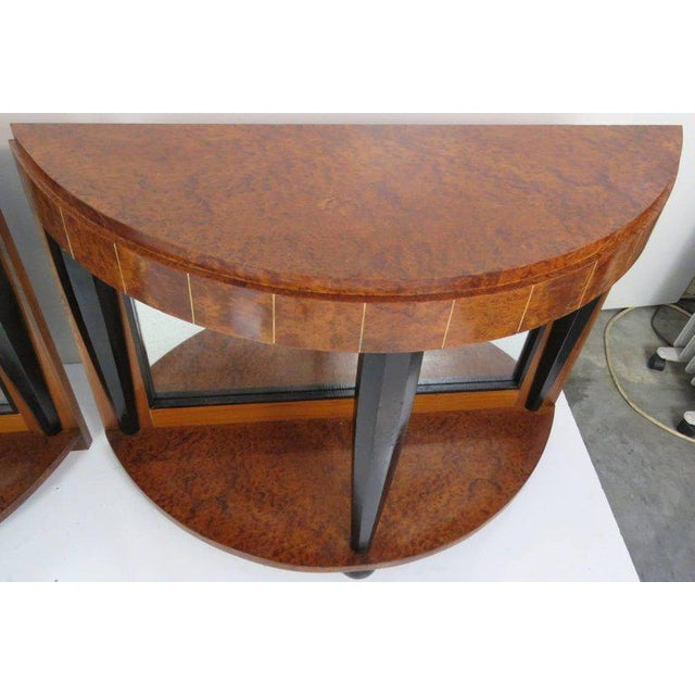 Pair of Mid Century Modern Style Burl Walnut and Ebonized Mirrored Consoles For Sale - Image 4 of 9