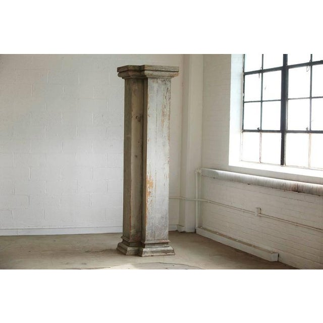 Impressive almost 8 ft tall wooden architectural column with amazing patina. Very sturdy and solid construction.