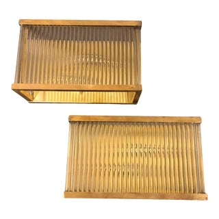 1970s Italian Mid-Century Modern Brass and Glass Wall Sconces Item For Sale