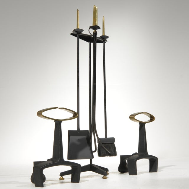 Mid-Century Modern Donald Deskey Fireplace Andirons Tool Set For Sale - Image 3 of 12