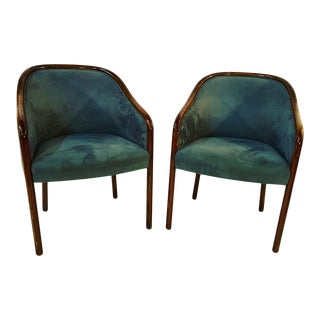 Brickell Associates 1980s Ward Bennet Mahogany's Finished Chairs - a Pair For Sale