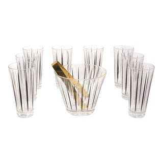 Vinage Black & White Stripe Cocktail Glasses and Ice Bucket - Set of 10 For Sale
