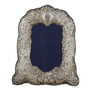 Vintage Repoussé Sterling Silver Picture Frame For Sale