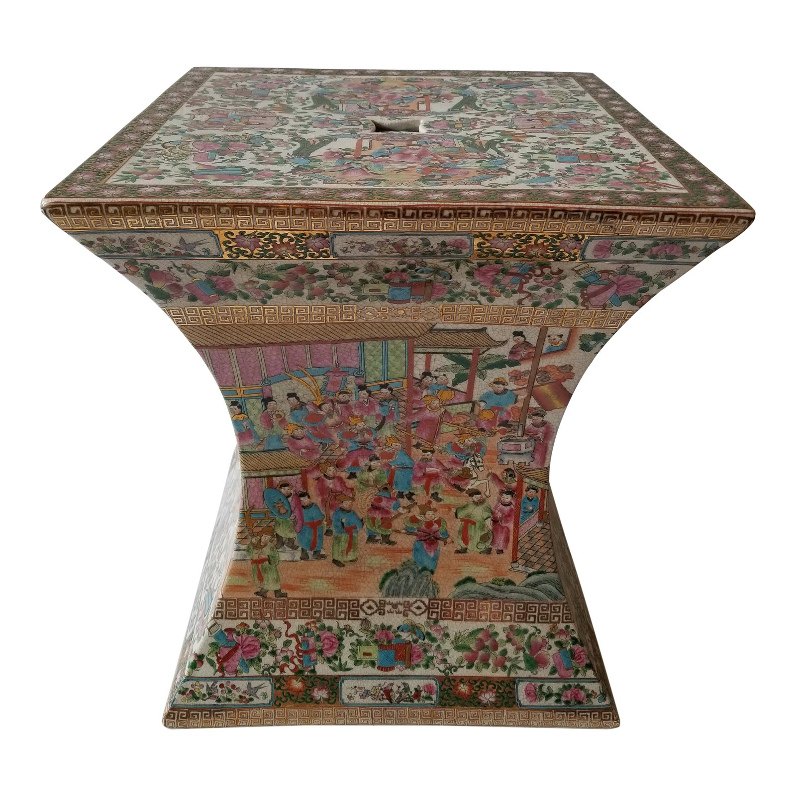 Mid-20th Century Chinese Rose Medallion Yong Tang Hall Garden Bench ...