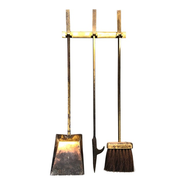 Hanging Brass Modernist Fire Tools For Sale