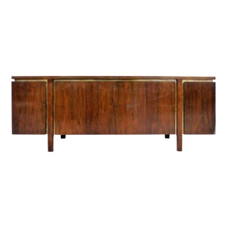 John Widdicomb Mid-Century Modern Walnut & Brass Credenza/Sideboard