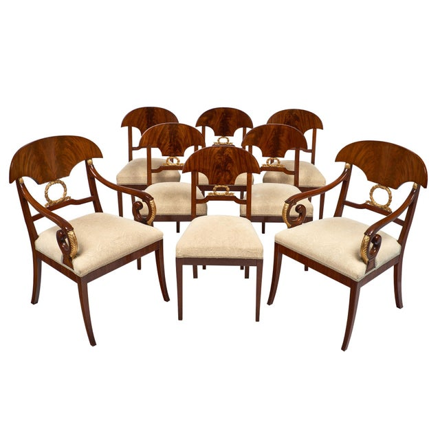 Swedish Antique Set of Flamed Dining Chairs For Sale - Image 11 of 11