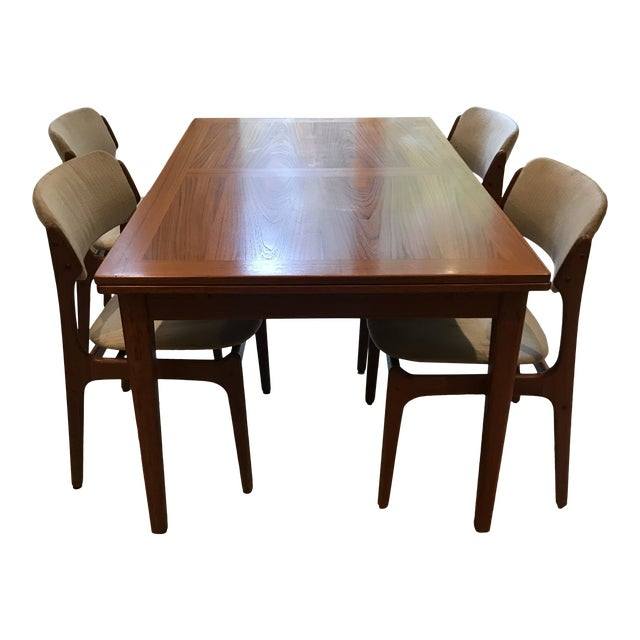 Mid-Century Dining Table & Chairs by Skovby & o.d. Mobler - Set of 5 For Sale