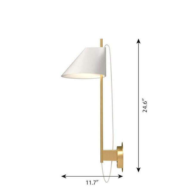 Mid-Century Modern GamFratesi White and Brass 'Yuh' Wall Light for Louis Poulsen For Sale - Image 3 of 6