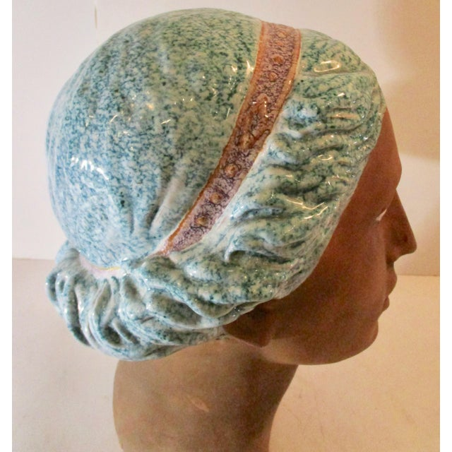 Ceramic Italian Neoclassical Terracotta Woman's Head With Enamel Details For Sale - Image 7 of 10