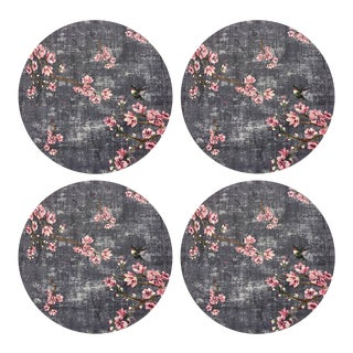"Blossom Fantasia Charcoal, 16"" Round Pebble Placemats, Set of 4 For Sale"