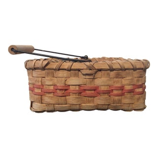 Vintage Basket With Wire and Wooden Handle For Sale