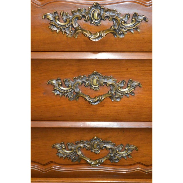1950s French Provincial Solid Cherry Marble Top Dresser For Sale - Image 9 of 13