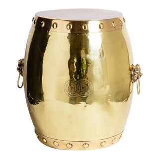 Asian Solid Brass Garden Stool, Recently Polished. For Sale