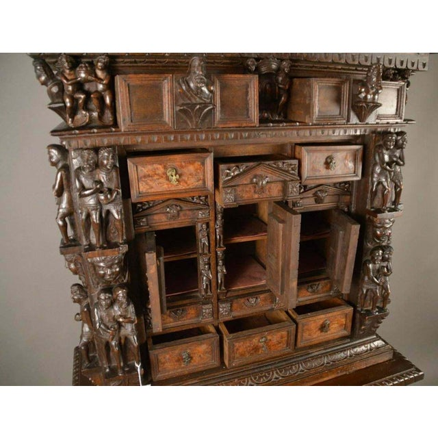 "Antique Heavily Carved Continental Court Two Piece 65"" Cabinet/Cupboard For Sale - Image 9 of 13"