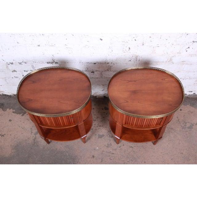 Baker Furniture French Regency Cherry and Brass Tambour Door Nightstands, Pair For Sale - Image 9 of 13