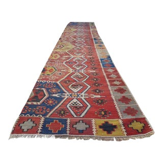 Vintage Turkish Handmade Wool Rug Runner - 2′7″ × 13′4″ For Sale