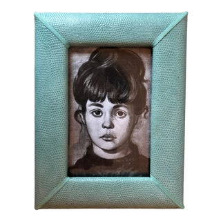 Faux Crocodile Leather Picture Frame-Helene Batoff Interiors For Sale