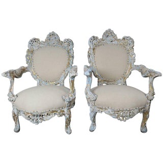 19th C. Rococo Style Painted French Armchairs