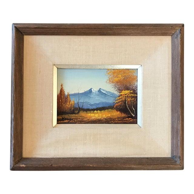 Vintage Landscape Mountain Painting Signed For Sale