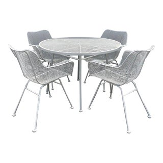1950s Mid-Century Modern Woodard Sculptura Dining Set - 5 Pieces For Sale